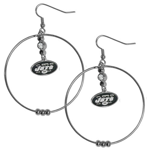 "Jets Hoop Earrings - ""Our NFL 2"""" hoop earrings have a fully cast and enameled New York Jets emblem with enameled detail and a high polish nickel free chrome finish and rhinestone access. Hypoallergenic fishhook posts."" Officially licensed NFL product Licensee: Siskiyou Buckle Thank you for visiting CrazedOutSports.com"
