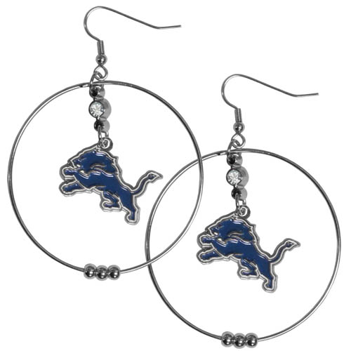 "Lions Hoop Earrings - ""Our NFL 2"""" hoop earrings have a fully cast and enameled Detroit Lions emblem with enameled detail and a high polish nickel free chrome finish and rhinestone access. Hypoallergenic fishhook posts."" Officially licensed NFL product Licensee: Siskiyou Buckle .com"