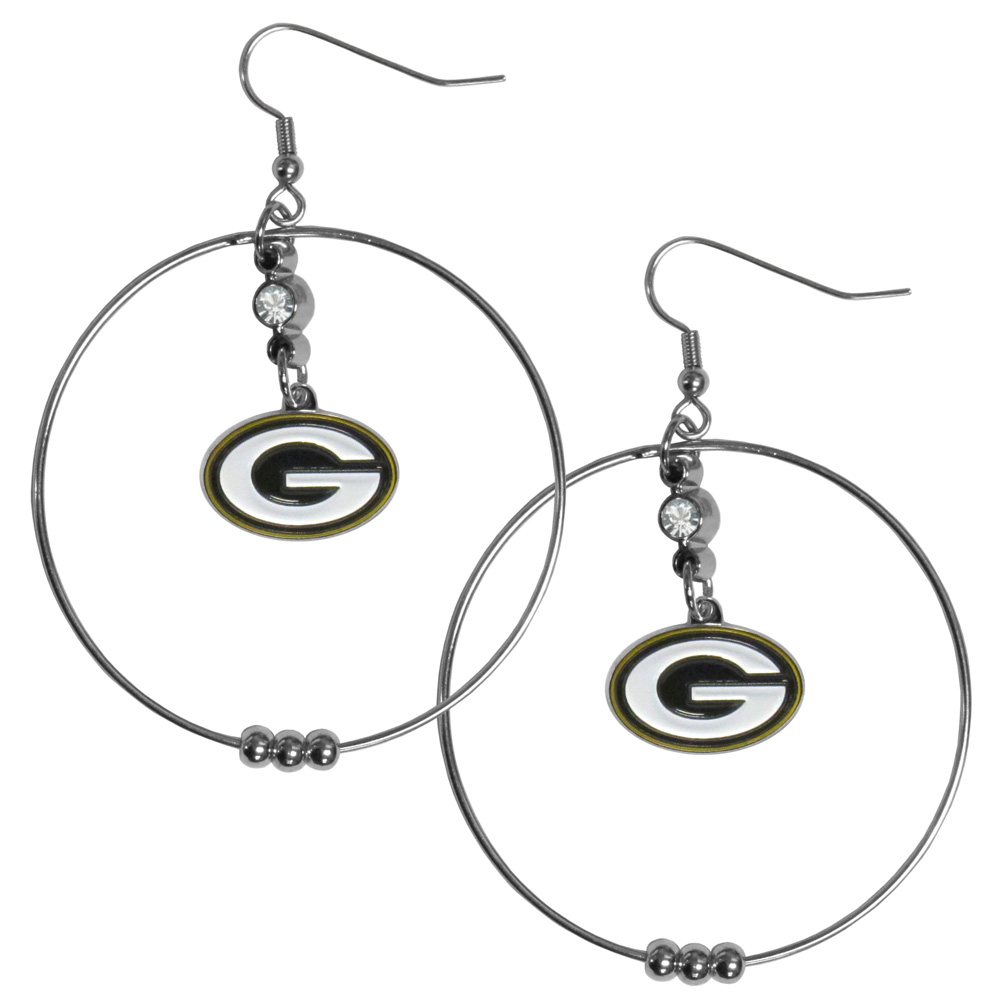 Green Bay Packers 2 Inch Hoop Earrings - Our large hoop earrings have a fully cast and enameled Green Bay Packers charm with enameled detail and a high polish nickel free chrome finish and rhinestone access. Hypoallergenic fishhook posts.