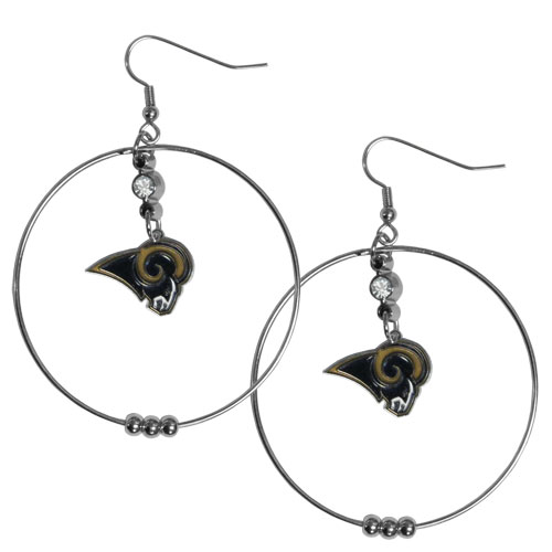 "Rams Hoop Earrings - ""Our NFL 2"""" hoop earrings have a fully cast and enameled St. Louis Rams emblem with enameled detail and a high polish nickel free chrome finish and rhinestone access. Hypoallergenic fishhook posts."" Officially licensed NFL product Licensee: Siskiyou Buckle .com"