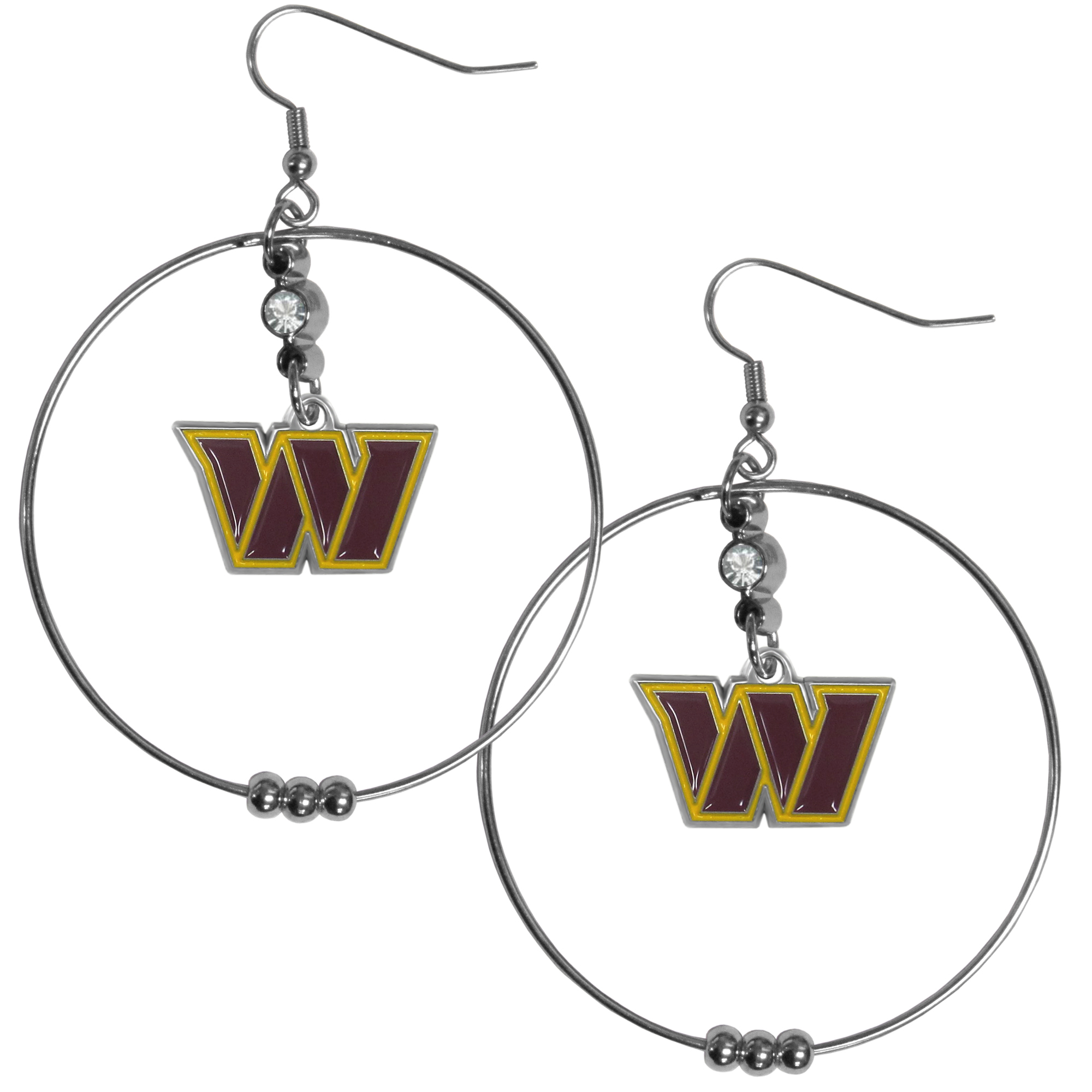 Washington Redskins 2 Inch Hoop Earrings - Our large hoop earrings have a fully cast and enameled Washington Redskins charm with enameled detail and a high polish nickel free chrome finish and rhinestone access. Hypoallergenic fishhook posts.