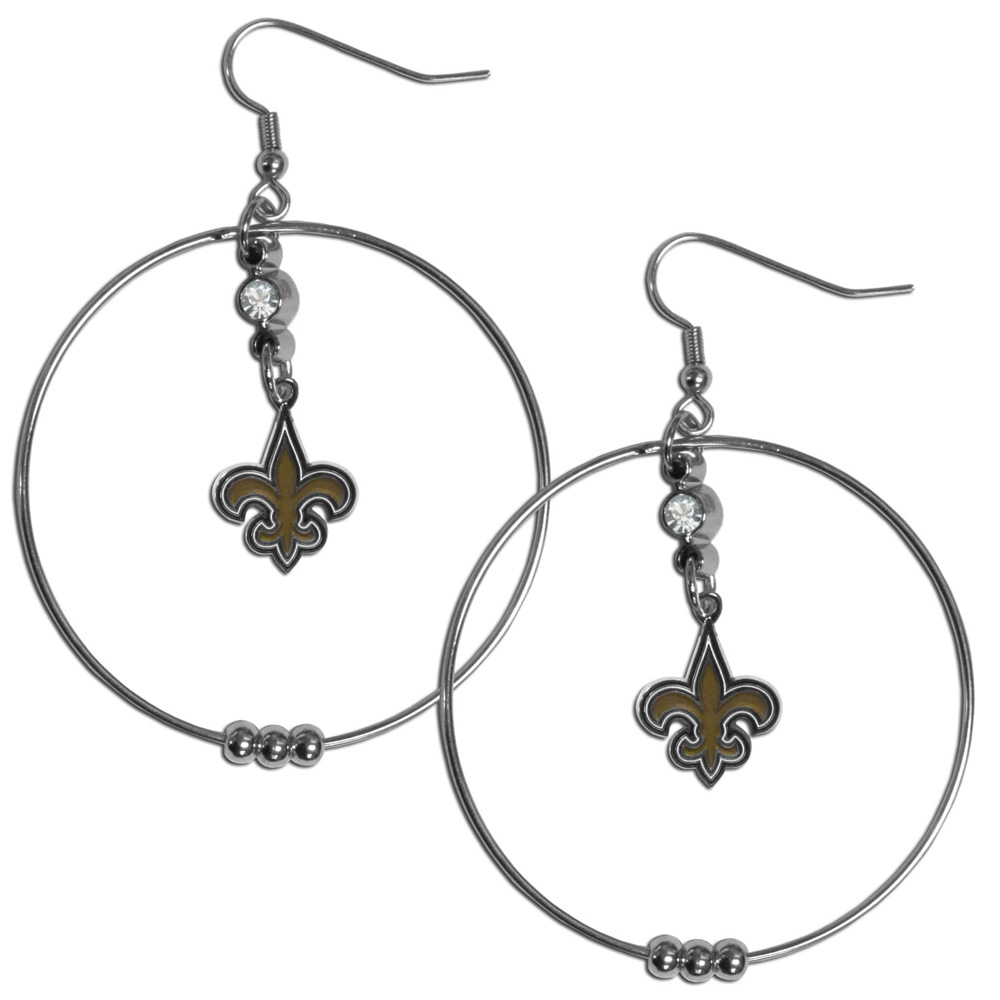 New Orleans Saints 2 Inch Hoop Earrings - Our large hoop earrings have a fully cast and enameled New Orleans Saints charm with enameled detail and a high polish nickel free chrome finish and rhinestone access. Hypoallergenic fishhook posts.