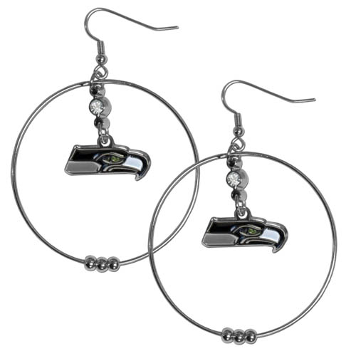 "Seahawks Hoop Earrings - ""Our NFL 2"""" hoop earrings have a fully cast and enameled Seattle Seahawks emblem with enameled detail and a high polish nickel free chrome finish and rhinestone access. Hypoallergenic fishhook posts."" Officially licensed NFL product Licensee: Siskiyou Buckle .com"