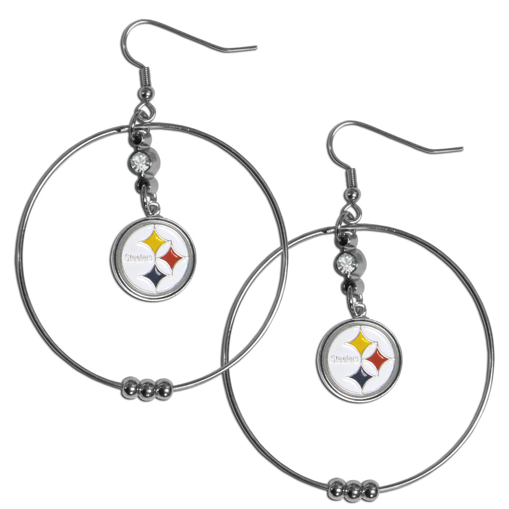 Pittsburgh Steelers 2 Inch Hoop Earrings - Our large hoop earrings have a fully cast and enameled Pittsburgh Steelers charm with enameled detail and a high polish nickel free chrome finish and rhinestone access. Hypoallergenic fishhook posts.