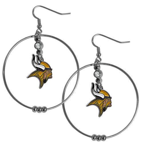 """Minnesota Vikings 2"""" Hoop Earrings"" - Our NFL 2 inch hoop earrings have a fully cast and enameled Minnesota Vikings emblem with enameled detail and a high polish nickel free chrome finish and rhinestone access. Hypoallergenic fishhook posts. Officially licensed NFL product Licensee: Siskiyou Buckle .com"
