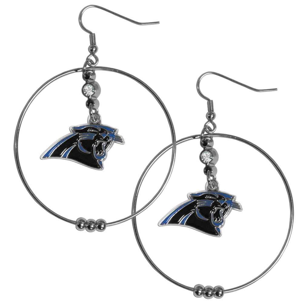 Carolina Panthers 2 Inch Hoop Earrings - Our large hoop earrings have a fully cast and enameled Carolina Panthers charm with enameled detail and a high polish nickel free chrome finish and rhinestone access. Hypoallergenic fishhook posts.