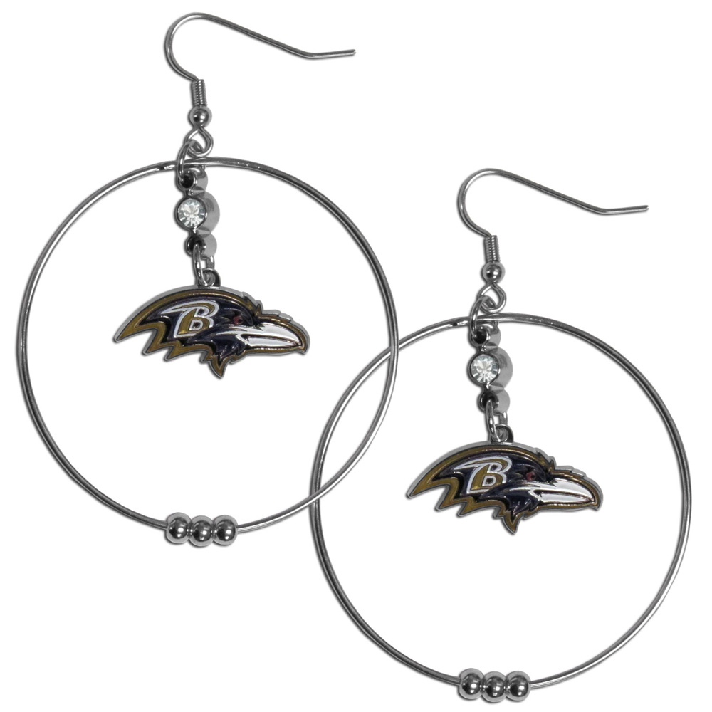 Baltimore Ravens 2 Inch Hoop Earrings - Our large hoop earrings have a fully cast and enameled Baltimore Ravens charm with enameled detail and a high polish nickel free chrome finish and rhinestone access. Hypoallergenic fishhook posts.
