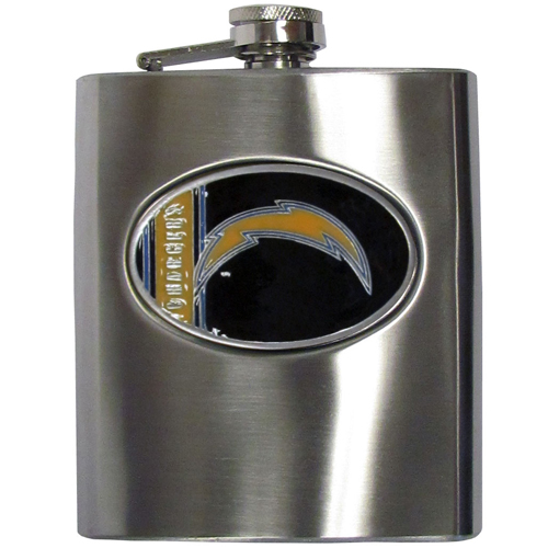 Chargers Hip Flask - 8 oz stainless steel hip flask with cast and enameled NFL team emblem. The flask comes with funnel. Officially licensed NFL product Licensee: Siskiyou Buckle .com