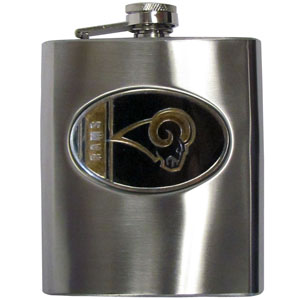 Rams Hip Flask - 8 oz stainless steel hip flask with cast and enameled NFL team emblem. The flask comes with funnel. Officially licensed NFL product Licensee: Siskiyou Buckle .com