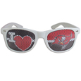 Tampa Bay Buccaneers I Heart Game Day Shades - Our officially licensed I Heart game day shades are the perfect accessory for the devoted Tampa Bay Buccaneers fan! The sunglasses have durable polycarbonate frames with flex hinges for comfort and damage resistance. The lenses feature brightly colored team clings that are perforated for visibility. Officially licensed NFL product Licensee: Siskiyou Buckle .com