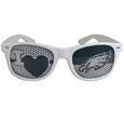 Philadelphia Eagles I Heart Game Day Shades - Our officially licensed I Heart game day shades are the perfect accessory for the devoted Philadelphia Eagles fan! The sunglasses have durable polycarbonate frames with flex hinges for comfort and damage resistance. The lenses feature brightly colored team clings that are perforated for visibility. Officially licensed NFL product Licensee: Siskiyou Buckle .com
