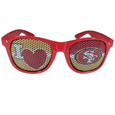 San Francisco 49ers I Heart Game Day Shades - Our officially licensed I Heart game day shades are the perfect accessory for the devoted San Francisco 49ers fan! The sunglasses have durable polycarbonate frames with flex hinges for comfort and damage resistance. The lenses feature brightly colored team clings that are perforated for visibility. Officially licensed NFL product Licensee: Siskiyou Buckle .com