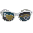 Jacksonville Jaguars I Heart Game Day Shades - Our officially licensed I Heart game day shades are the perfect accessory for the devoted Jacksonville Jaguars fan! The sunglasses have durable polycarbonate frames with flex hinges for comfort and damage resistance. The lenses feature brightly colored team clings that are perforated for visibility. Officially licensed NFL product Licensee: Siskiyou Buckle Thank you for visiting CrazedOutSports.com
