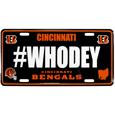 Cincinnati Bengals Hashtag License Plate - It's a hashtag world! Celebrate the Cincinnati Bengals with this stamped aluminum license plate with the most popular team hashtag! This bright license plate will look great on your vehicle or mounted in your fan cave.