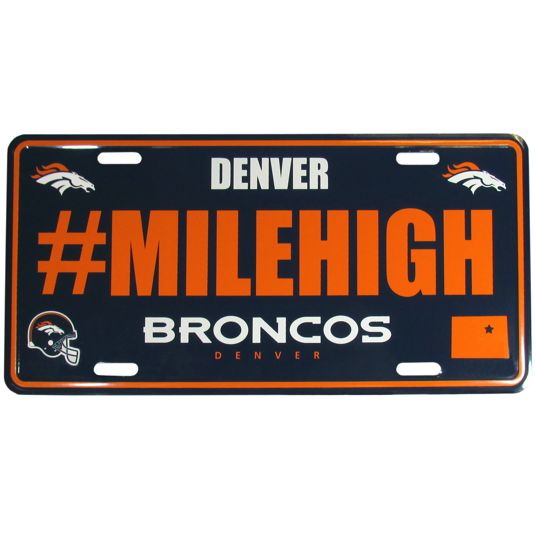 Denver Broncos Hashtag License Plate - It's a hashtag world! Celebrate the Denver Broncos with this stamped aluminum license plate with the most popular team hashtag! This bright license plate will look great on your vehicle or mounted in your fan cave.