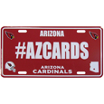 Arizona Cardinals Hashtag License Plate - It's a hashtag world! Celebrate the Arizona Cardinals with this stamped aluminum license plate with the most popular team hashtag! This bright license plate will look great on your vehicle or mounted in your fan cave.