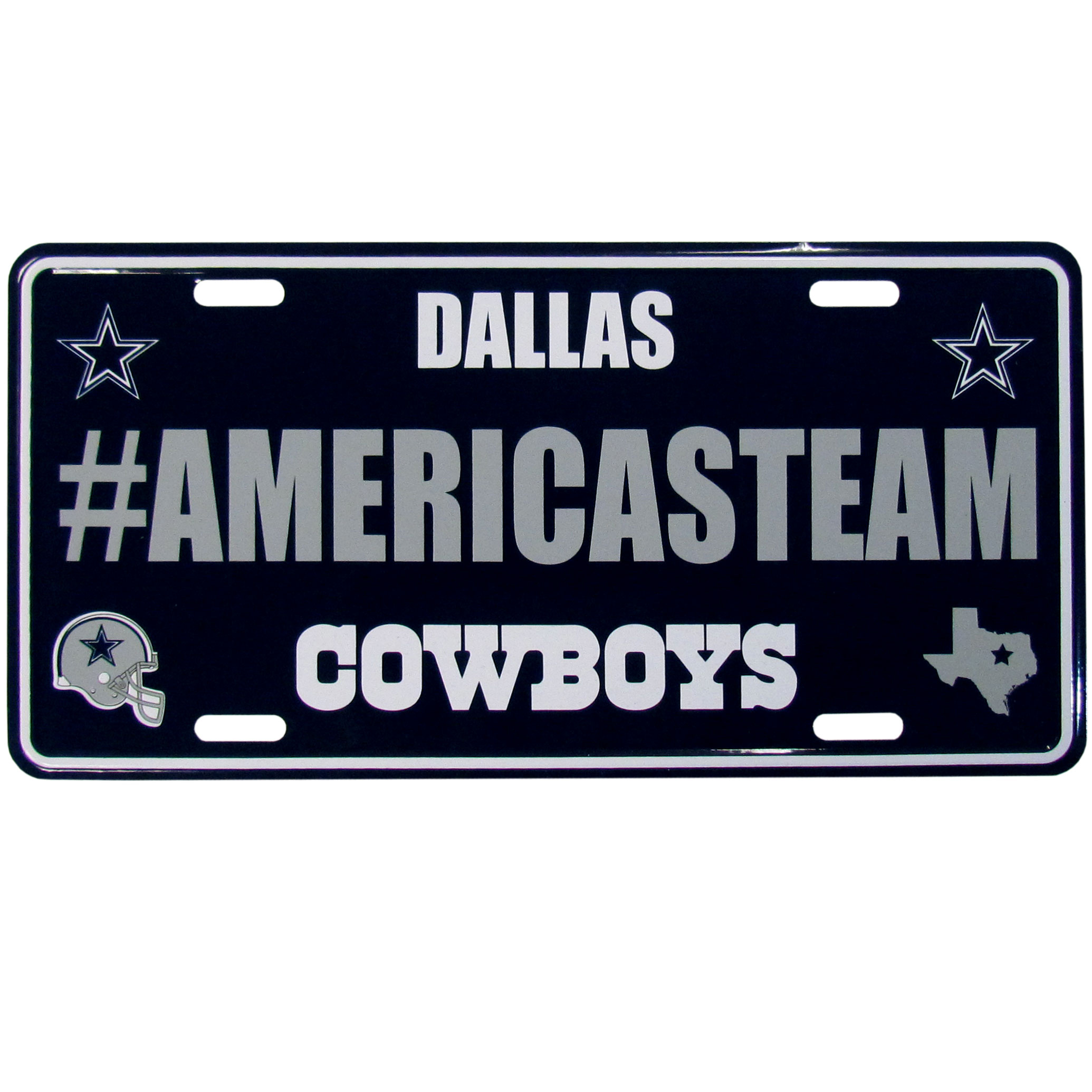 Dallas Cowboys Hashtag License Plate - It's a hashtag world! Celebrate the Dallas Cowboys with this stamped aluminum license plate with the most popular team hashtag! This bright license plate will look great on your vehicle or mounted in your fan cave.