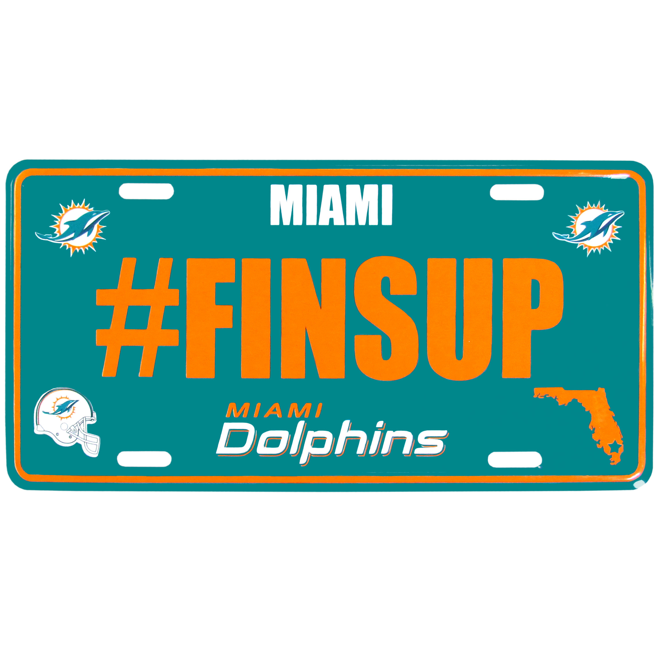 Miami Dolphins Hashtag License Plate - It's a hashtag world! Celebrate the Miami Dolphins with this stamped aluminum license plate with the most popular team hashtag! This bright license plate will look great on your vehicle or mounted in your fan cave.