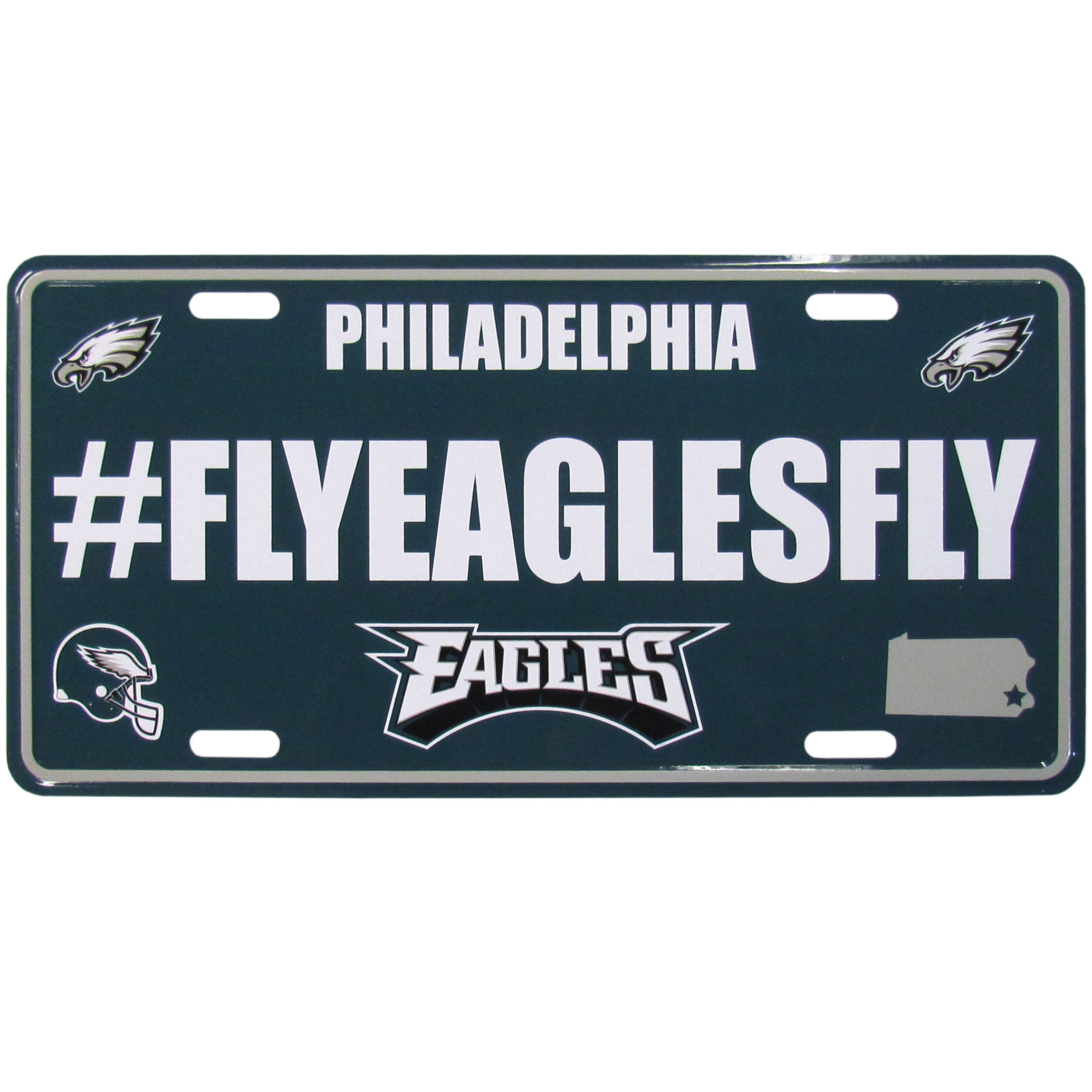 Philadelphia Eagles Hashtag License Plate - It's a hashtag world! Celebrate the Philadelphia Eagles with this stamped aluminum license plate with the most popular team hashtag! This bright license plate will look great on your vehicle or mounted in your fan cave.