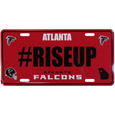 Atlanta Falcons Hashtag License Plate - It's a hashtag world! Celebrate the Atlanta Falcons with this stamped aluminum license plate with the most popular team hashtag! This bright license plate will look great on your vehicle or mounted in your fan cave.