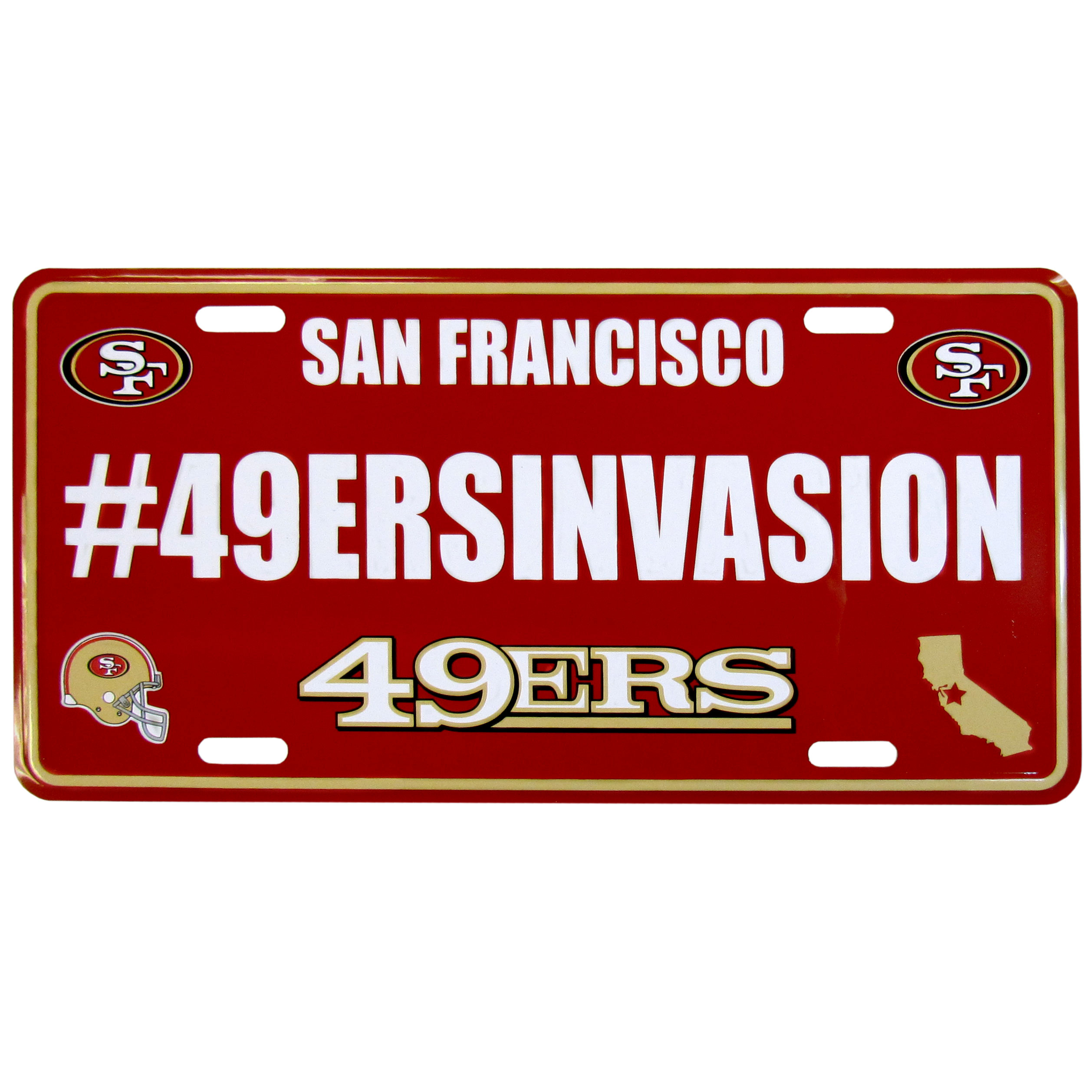 San Francisco 49ers Hashtag License Plate - It's a hashtag world! Celebrate the San Francisco 49ers with this stamped aluminum license plate with the most popular team hashtag! This bright license plate will look great on your vehicle or mounted in your fan cave.