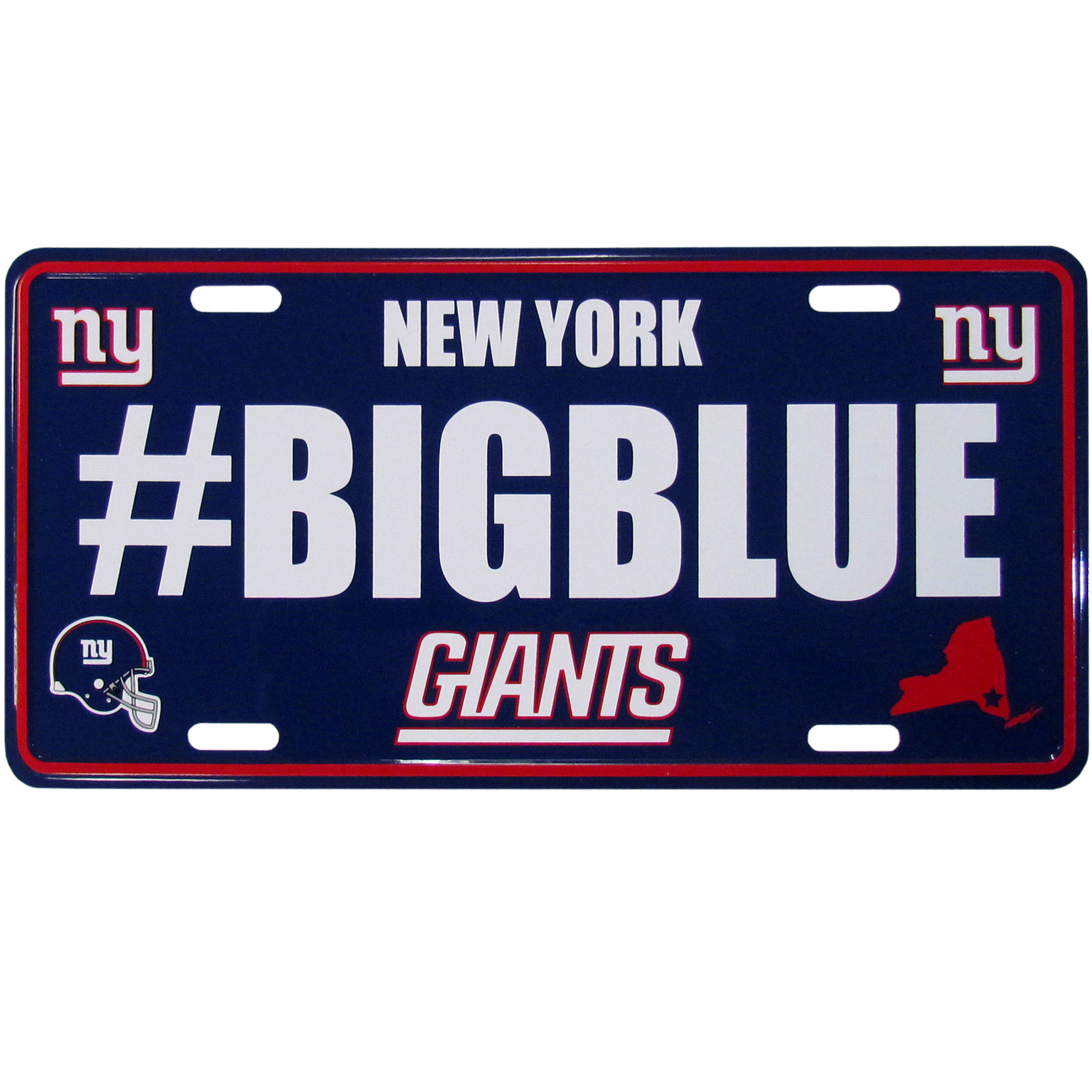 New York Giants Hashtag License Plate - It's a hashtag world! Celebrate the New York Giants with this stamped aluminum license plate with the most popular team hashtag! This bright license plate will look great on your vehicle or mounted in your fan cave.