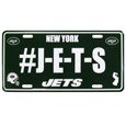 New York Jets Hashtag License Plate - It's a hashtag world! Celebrate the New York Jets with this stamped aluminum license plate with the most popular team hashtag! This bright license plate will look great on your vehicle or mounted in your fan cave.