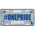 Detroit Lions Hashtag License Plate - It's a hashtag world! Celebrate the Detroit Lions with this stamped aluminum license plate with the most popular team hashtag! This bright license plate will look great on your vehicle or mounted in your fan cave.