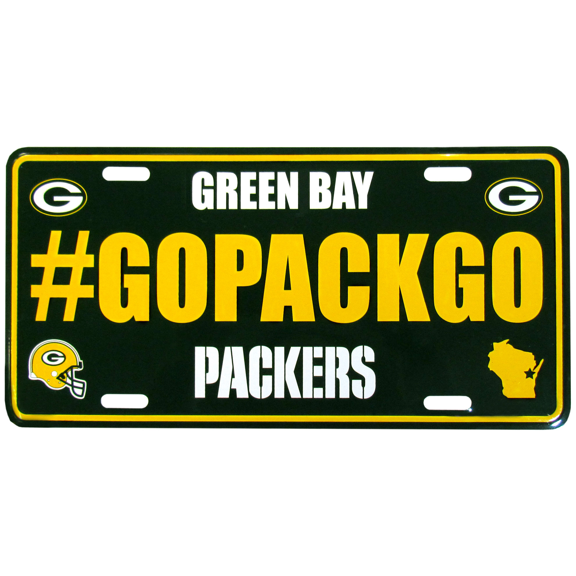 Green Bay Packers Hashtag License Plate - It's a hashtag world! Celebrate the Green Bay Packers with this stamped aluminum license plate with the most popular team hashtag! This bright license plate will look great on your vehicle or mounted in your fan cave.