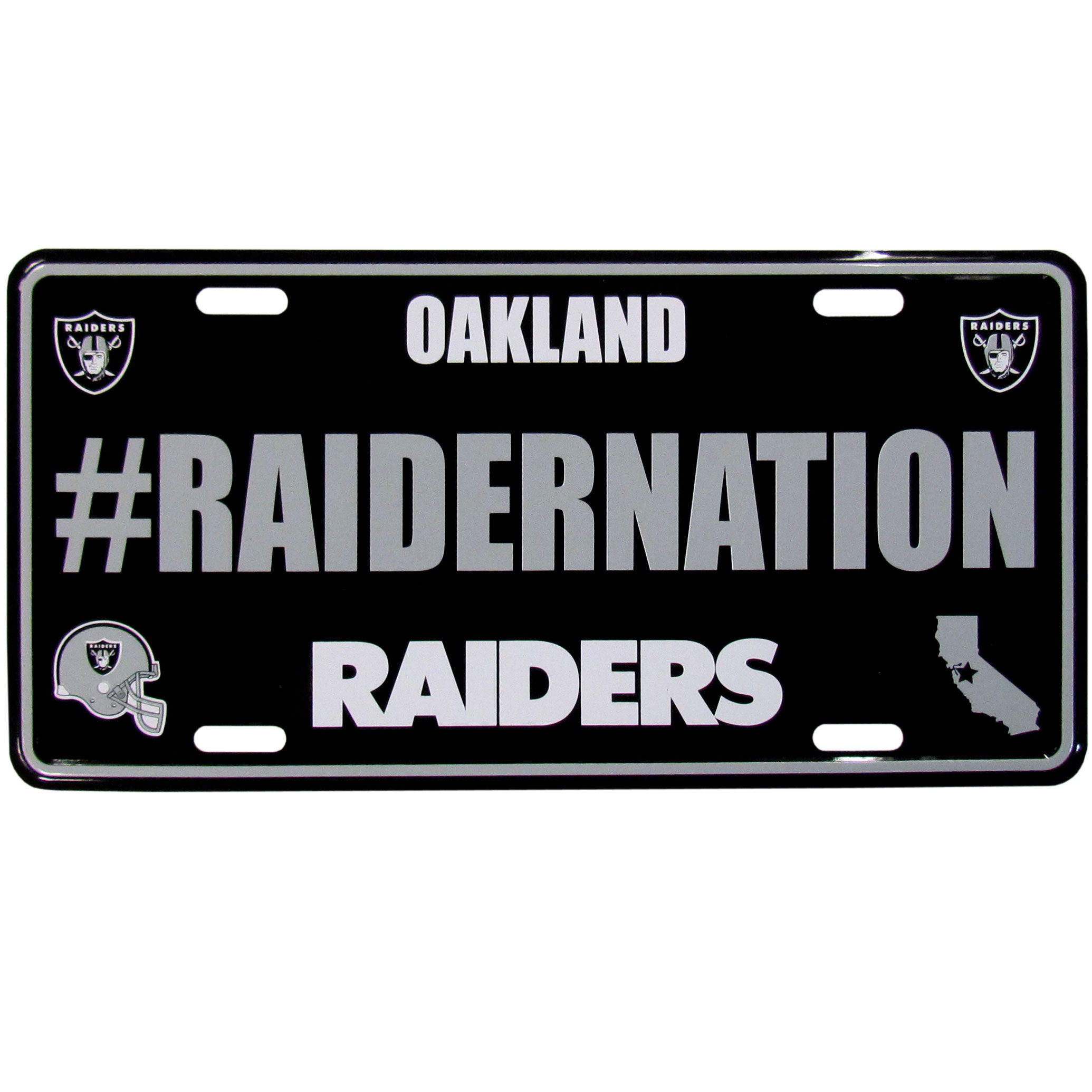 Oakland Raiders Hashtag License Plate - It's a hashtag world! Celebrate the Oakland Raiders with this stamped aluminum license plate with the most popular team hashtag! This bright license plate will look great on your vehicle or mounted in your fan cave.