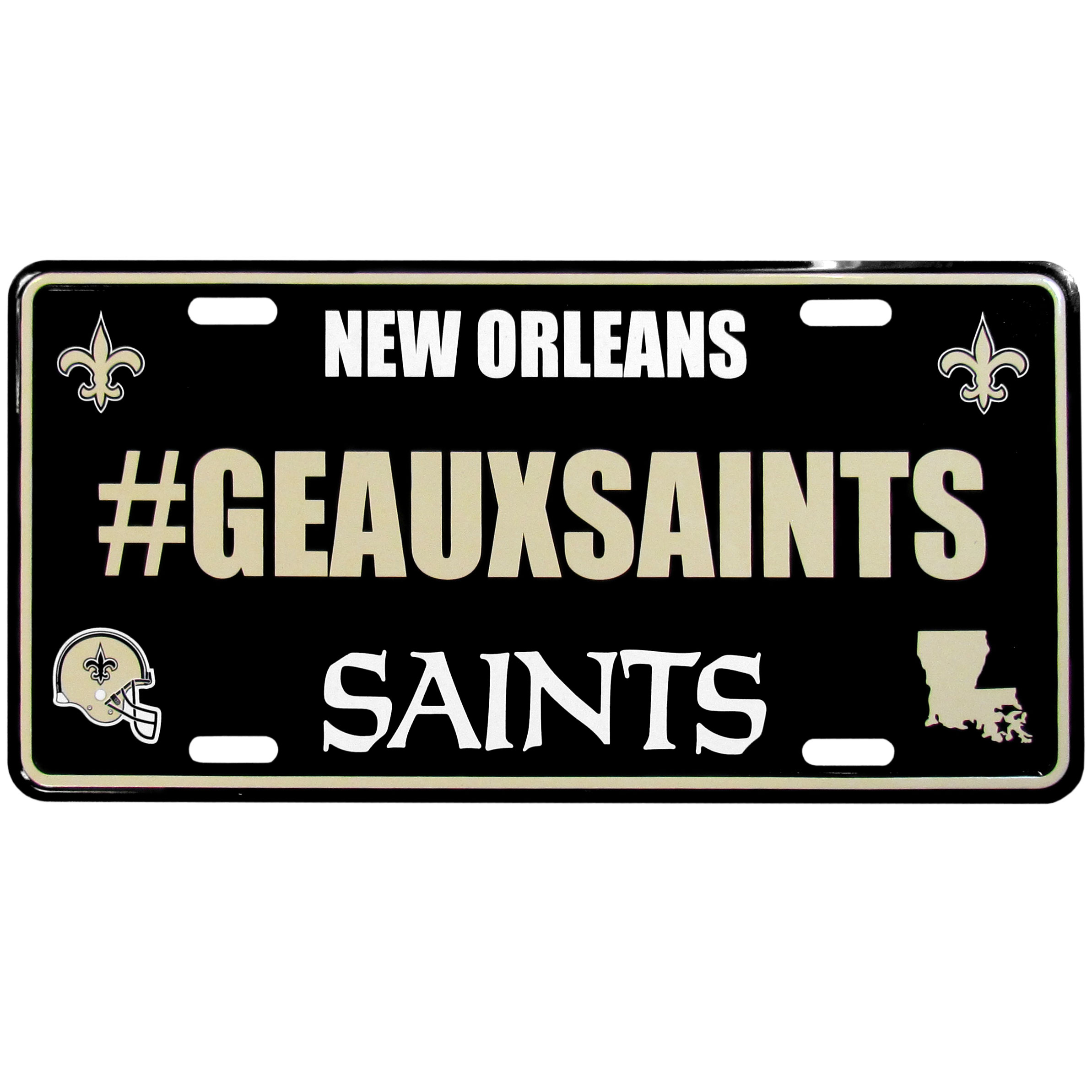 New Orleans Saints Hashtag License Plate - It's a hashtag world! Celebrate the New Orleans Saints with this stamped aluminum license plate with the most popular team hashtag! This bright license plate will look great on your vehicle or mounted in your fan cave.