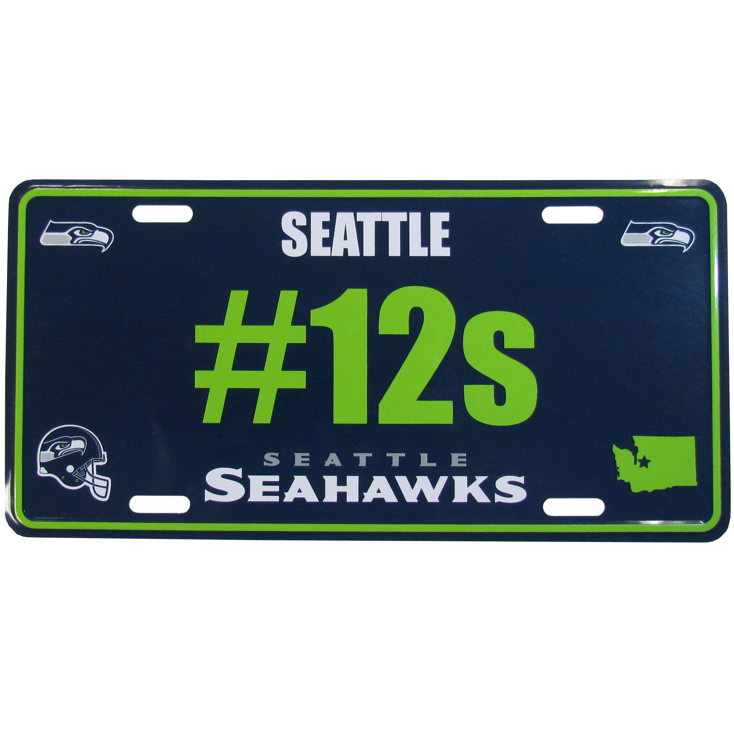 Seattle Seahawks Hashtag License Plate - It's a hashtag world! Celebrate the Seattle Seahawks with this stamped aluminum license plate with the most popular team hashtag! This bright license plate will look great on your vehicle or mounted in your fan cave.