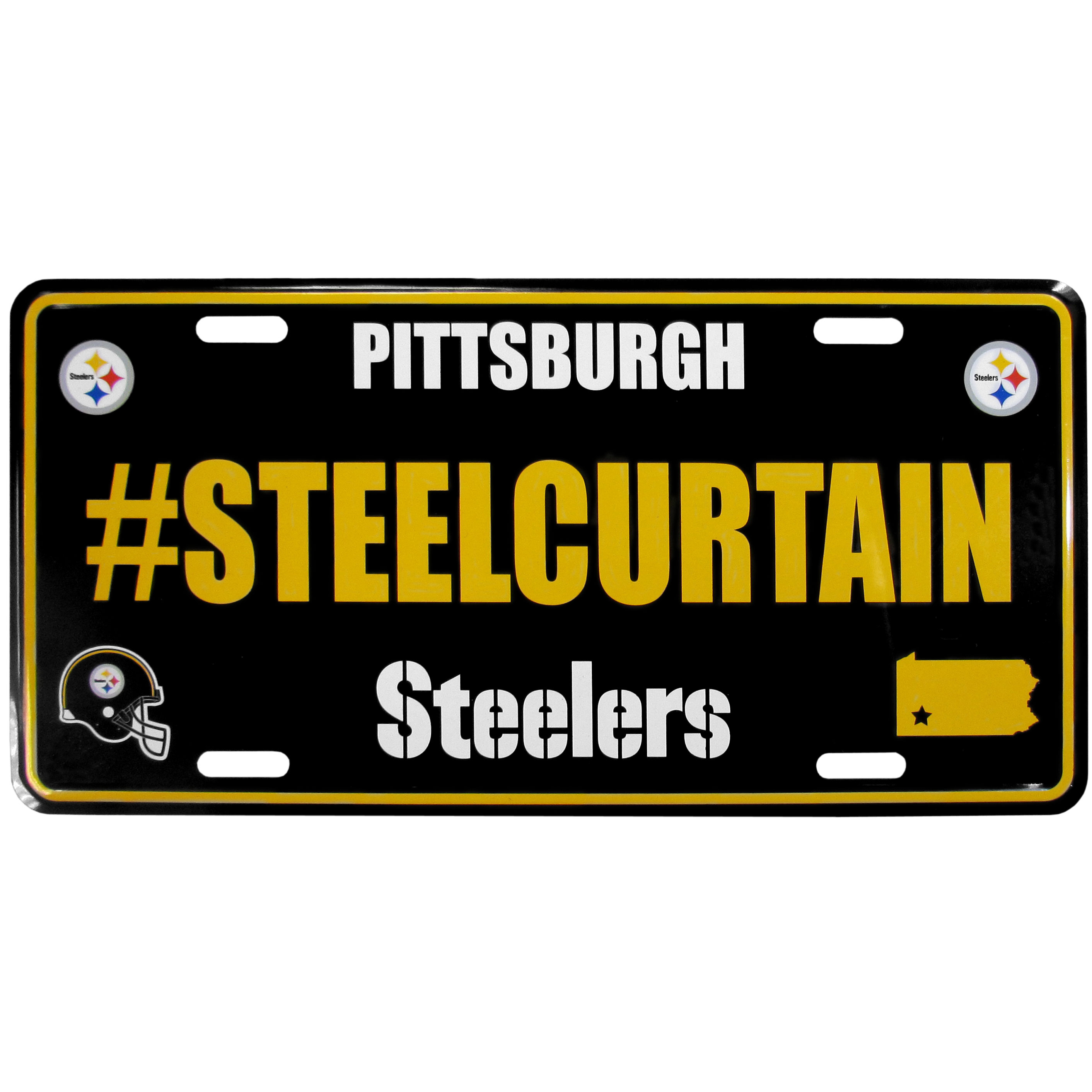 Pittsburgh Steelers Hashtag License Plate - It's a hashtag world! Celebrate the Pittsburgh Steelers with this stamped aluminum license plate with the most popular team hashtag! This bright license plate will look great on your vehicle or mounted in your fan cave.