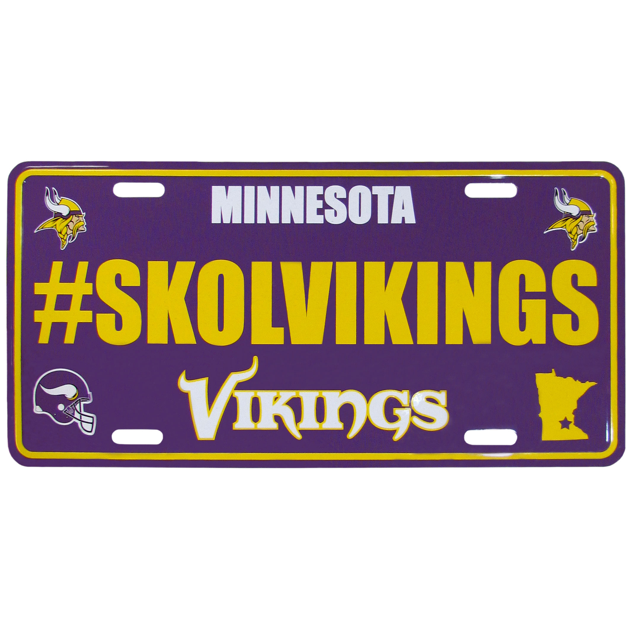 Minnesota Vikings Hashtag License Plate - It's a hashtag world! Celebrate the Minnesota Vikings with this stamped aluminum license plate with the most popular team hashtag! This bright license plate will look great on your vehicle or mounted in your fan cave.