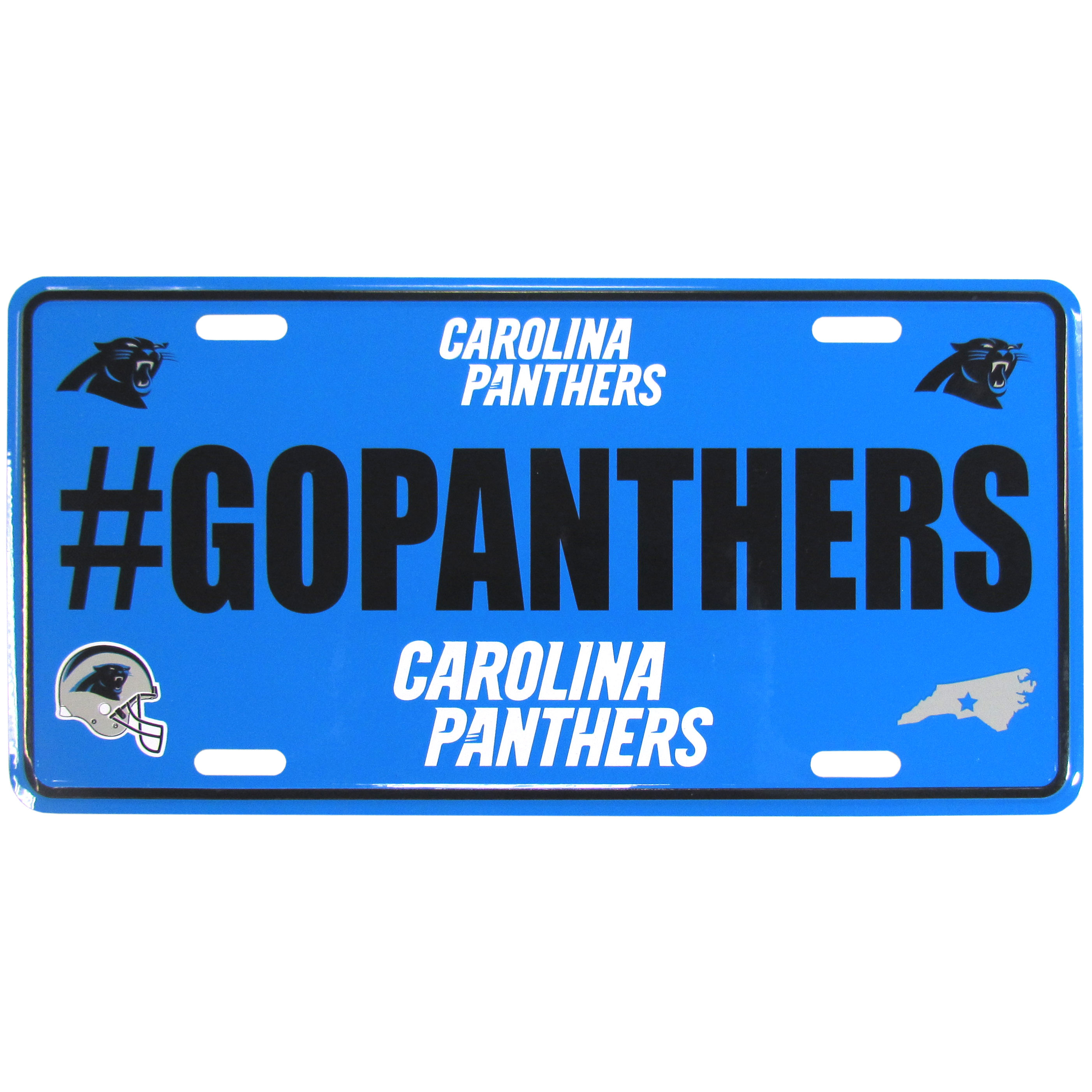 Carolina Panthers Hashtag License Plate - It's a hashtag world! Celebrate the Carolina Panthers with this stamped aluminum license plate with the most popular team hashtag! This bright license plate will look great on your vehicle or mounted in your fan cave.