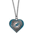 Miami Dolphins Heart Necklace