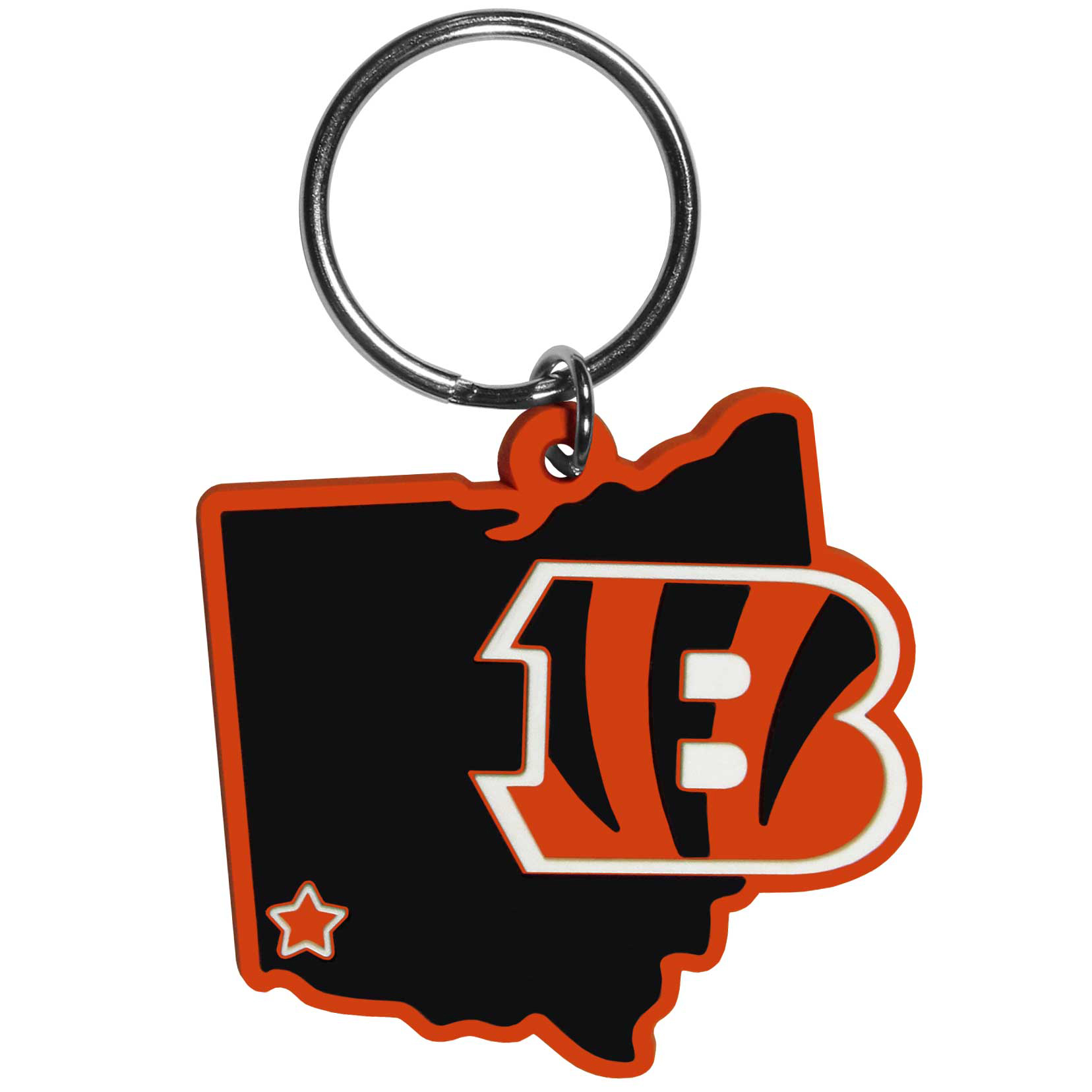 Cincinnati Bengals Home State Flexi Key Chain - Our flexible Cincinnati Bengals key chains are a fun way to carry your team with you. The pliable rubber material is extremely durable and is the layered colors add a great 3D look to the key chain. This is really where quality and a great price meet to create a true fan favorite.