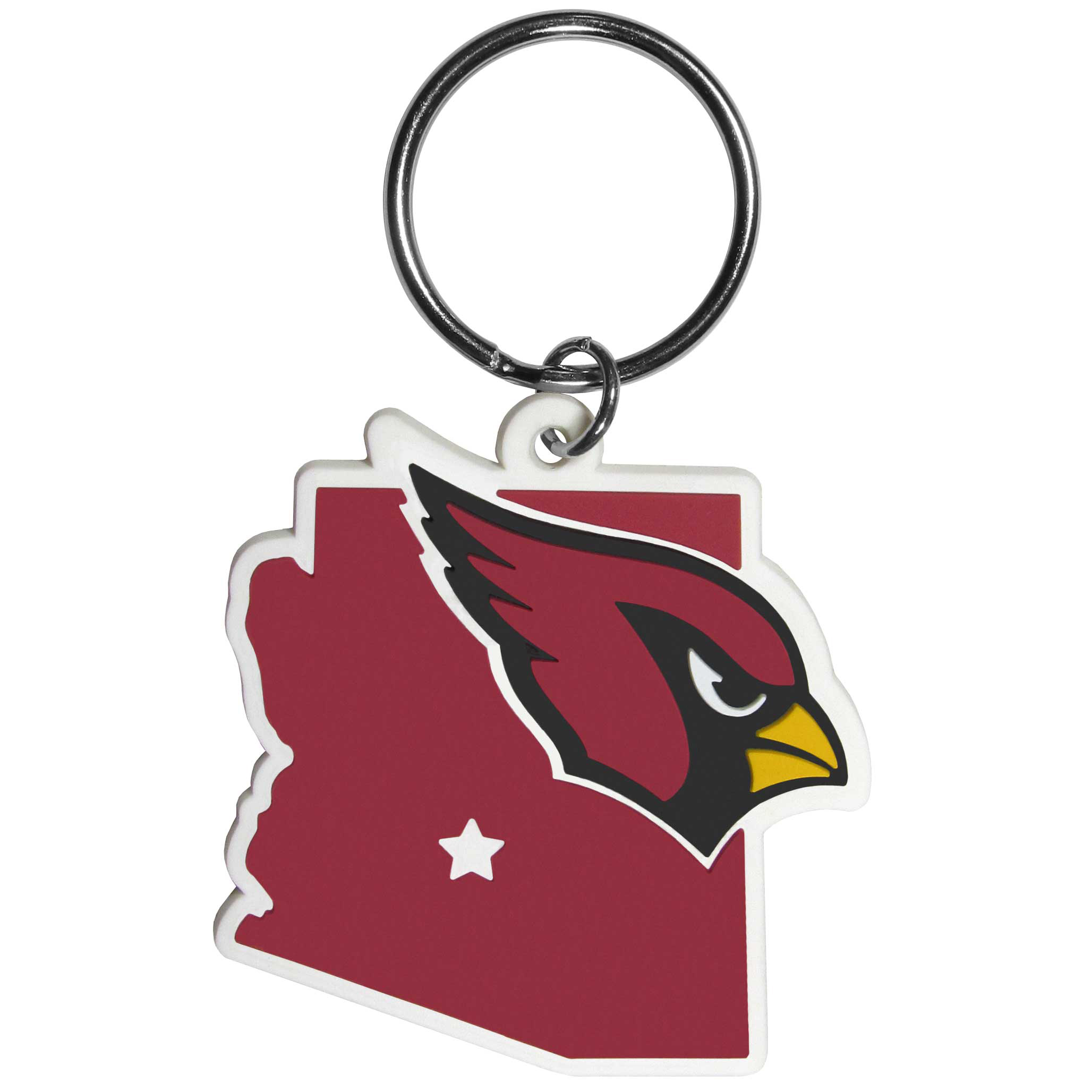 Arizona Cardinals Home State Flexi Key Chain - Our flexible Arizona Cardinals key chains are a fun way to carry your team with you. The pliable rubber material is extremely durable and is the layered colors add a great 3D look to the key chain. This is really where quality and a great price meet to create a true fan favorite.
