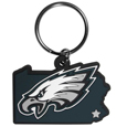 Philadelphia Eagles Home State Flexi Key Chain - Our flexible Philadelphia Eagles home state key chains are a fun way to carry your team with you. The pliable rubber material is extremely durable and is the layered colors add a great 3D look to this popular home state designed key chain. This is really where quality and a great price meet to create a true fan favorite.