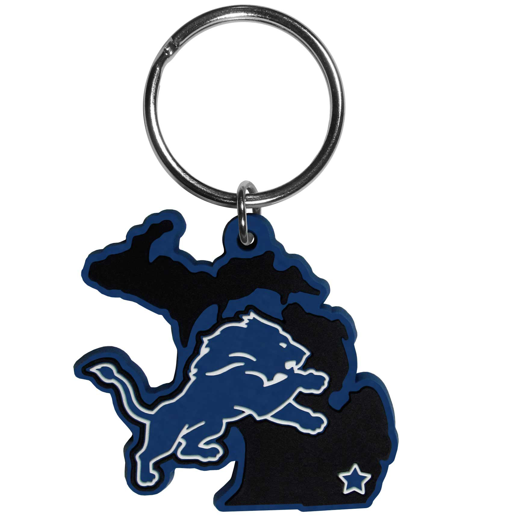 Detroit Lions Home State Flexi Key Chain - Our flexible Detroit Lions key chains are a fun way to carry your team with you. The pliable rubber material is extremely durable and is the layered colors add a great 3D look to the key chain. This is really where quality and a great price meet to create a true fan favorite.