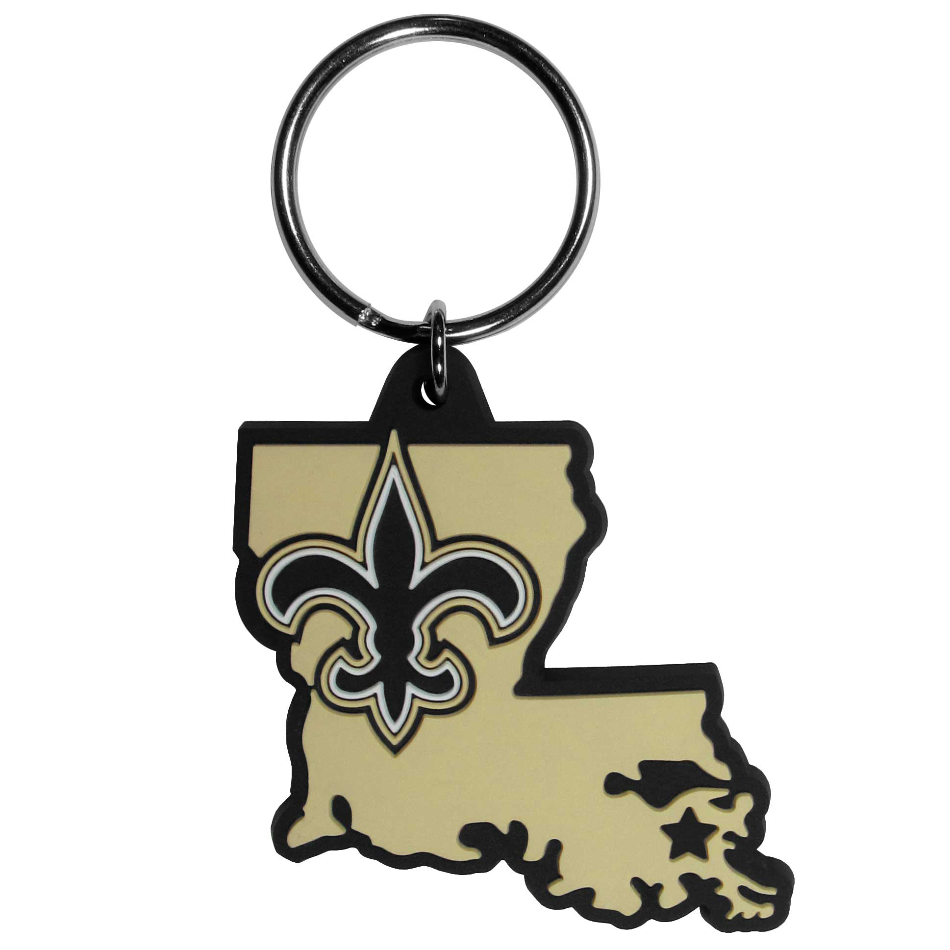 New Orleans Saints Home State Flexi Key Chain - Our flexible New Orleans Saints key chains are a fun way to carry your team with you. The pliable rubber material is extremely durable and is the layered colors add a great 3D look to the key chain. This is really where quality and a great price meet to create a true fan favorite.
