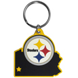 Pittsburgh Steelers Home State Flexi Key Chain - Our flexible Pittsburgh Steelers home state key chains are a fun way to carry your team with you. The pliable rubber material is extremely durable and is the layered colors add a great 3D look to this popular home state designed key chain. This is really where quality and a great price meet to create a true fan favorite.