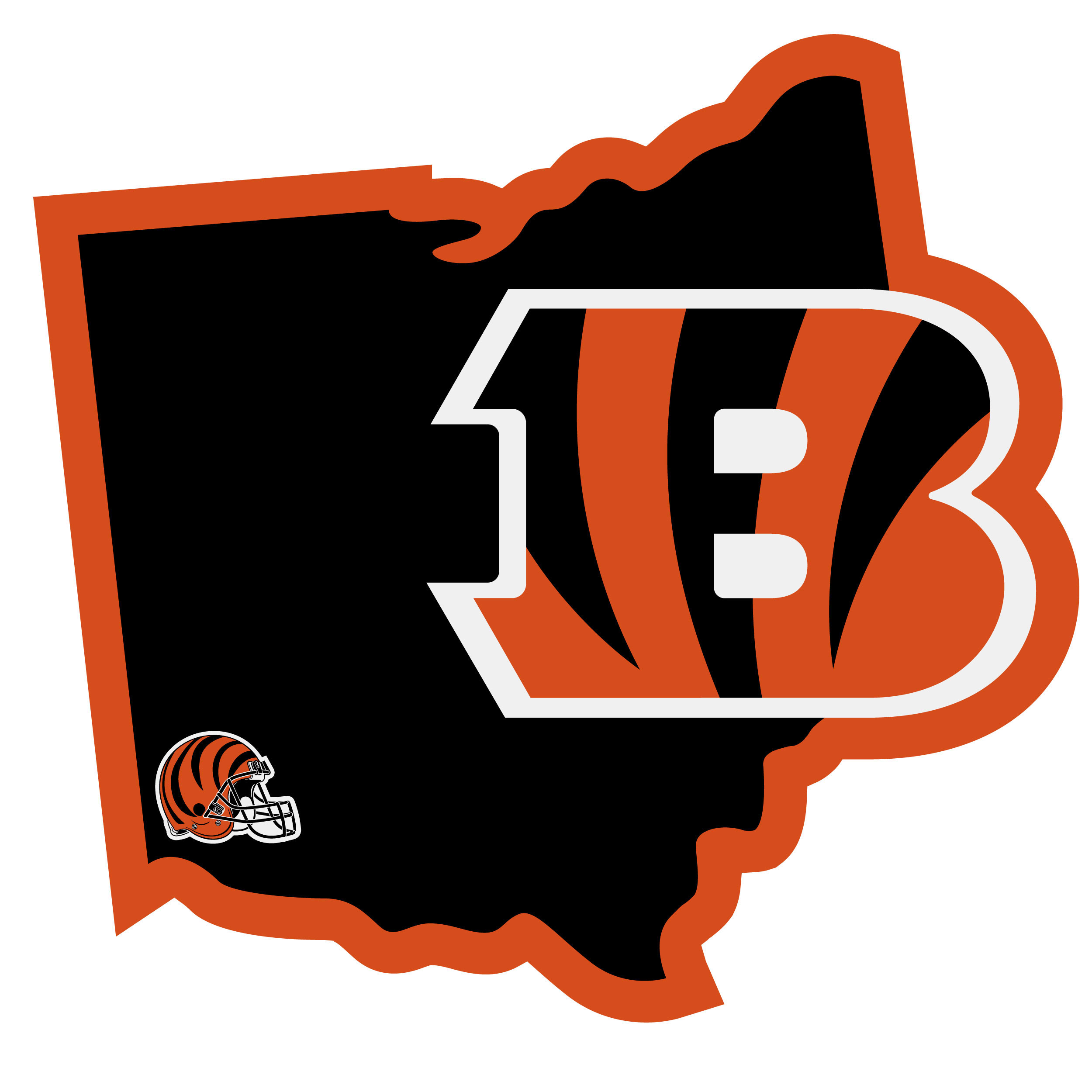 Cincinnati Bengals Home State Decal - It's a home state decal with a sporty twist! This Cincinnati Bengals decal feature the team logo over a silhouette of the state in team colors and a heart marking the home of the team. The decal is approximately 5 inches on repositionable vinyl.