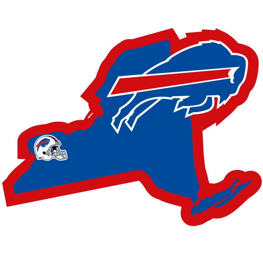 Buffalo Bills Home State Decal - It's a home state decal with a sporty twist! This Buffalo Bills decal feature the team logo over a silhouette of the state in team colors and a heart marking the home of the team. The decal is approximately 5 inches on repositionable vinyl.