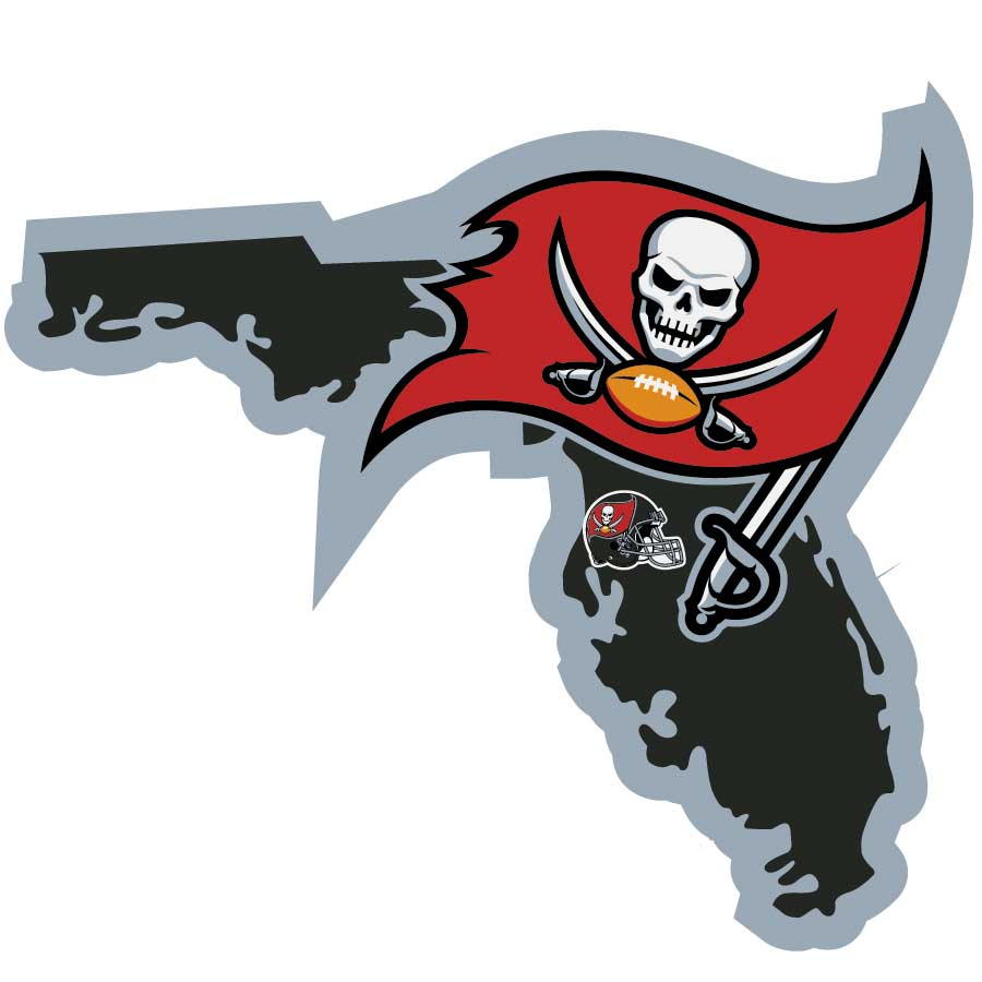 Tampa Bay Buccaneers Home State Decal - It's a home state decal with a sporty twist! This Tampa Bay Buccaneers decal feature the team logo over a silhouette of the state in team colors and a heart marking the home of the team. The decal is approximately 5 inches on repositionable vinyl.