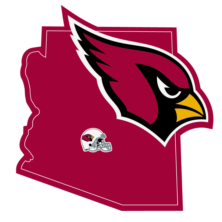Arizona Cardinals Home State Decal - It's a home state decal with a sporty twist! This Arizona Cardinals decal feature the team logo over a silhouette of the state in team colors and a heart marking the home of the team. The decal is approximately 5 inches on repositionable vinyl.