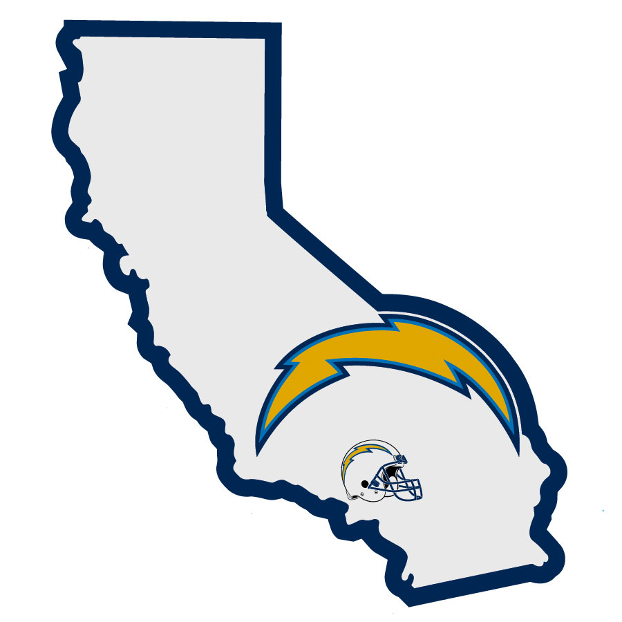 Los Angeles Chargers Home State Decal - It's a home state decal with a sporty twist! This Los Angeles Chargers decal feature the team logo over a silhouette of the state in team colors and a heart marking the home of the team. The decal is approximately 5 inches on repositionable vinyl.