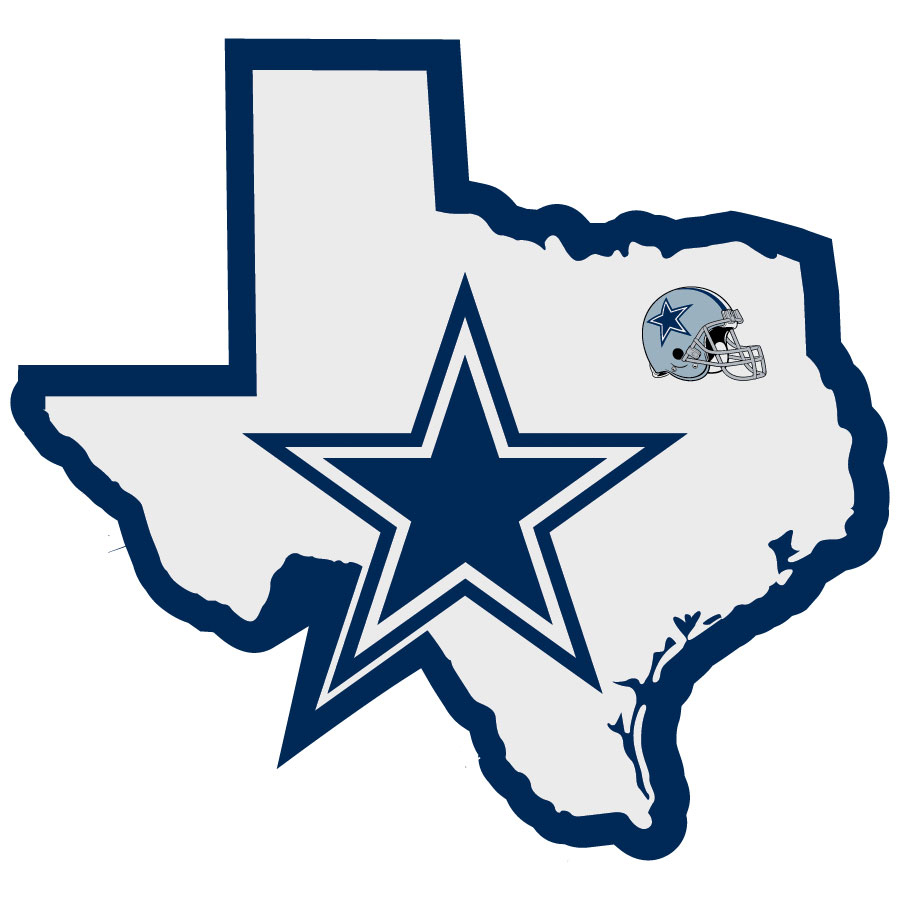 Dallas Cowboys Home State Decal - It's a home state decal with a sporty twist! This Dallas Cowboys decal feature the team logo over a silhouette of the state in team colors and a heart marking the home of the team. The decal is approximately 5 inches on repositionable vinyl.