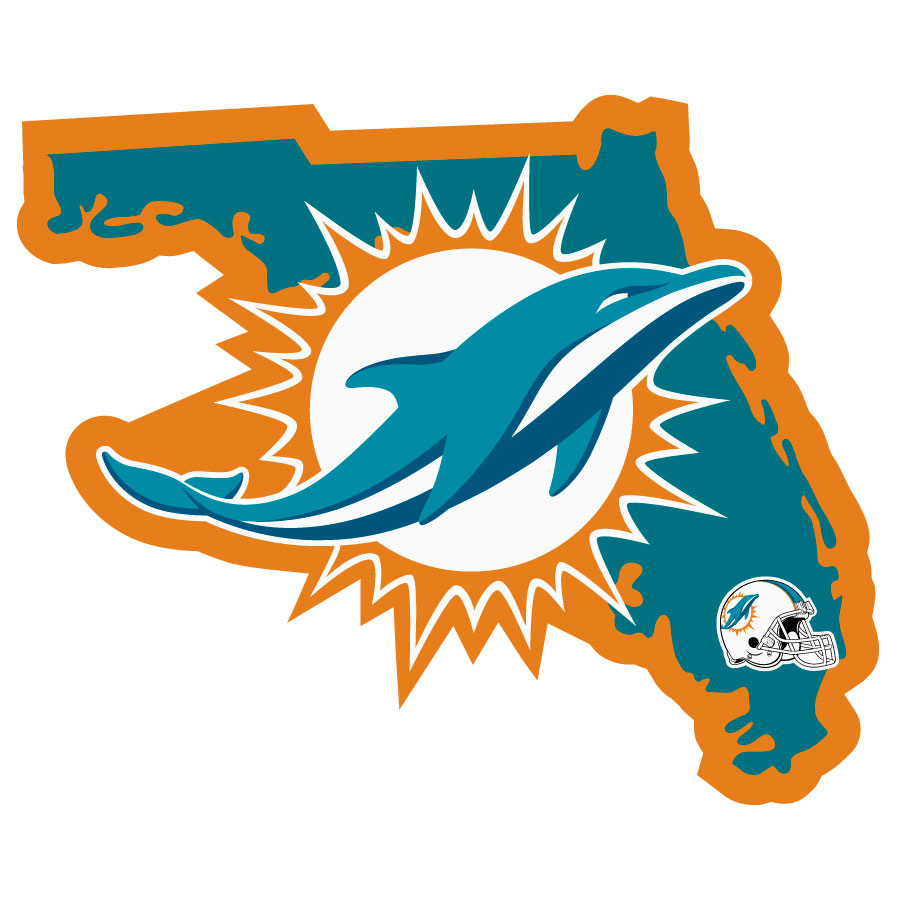 Miami Dolphins Home State Decal - It's a home state decal with a sporty twist! This Miami Dolphins decal feature the team logo over a silhouette of the state in team colors and a heart marking the home of the team. The decal is approximately 5 inches on repositionable vinyl.