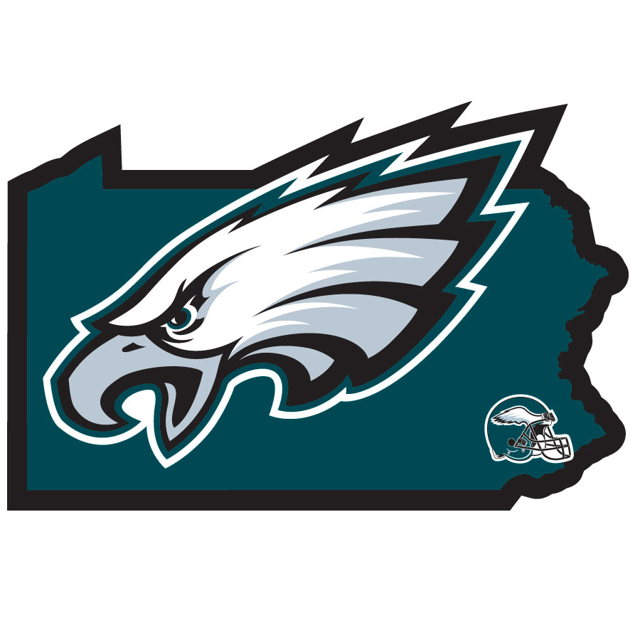 Philadelphia Eagles Home State Decal - It's a home state decal with a sporty twist! This Philadelphia Eagles decal feature the team logo over a silhouette of the state in team colors and a heart marking the home of the team. The decal is approximately 5 inches on repositionable vinyl.